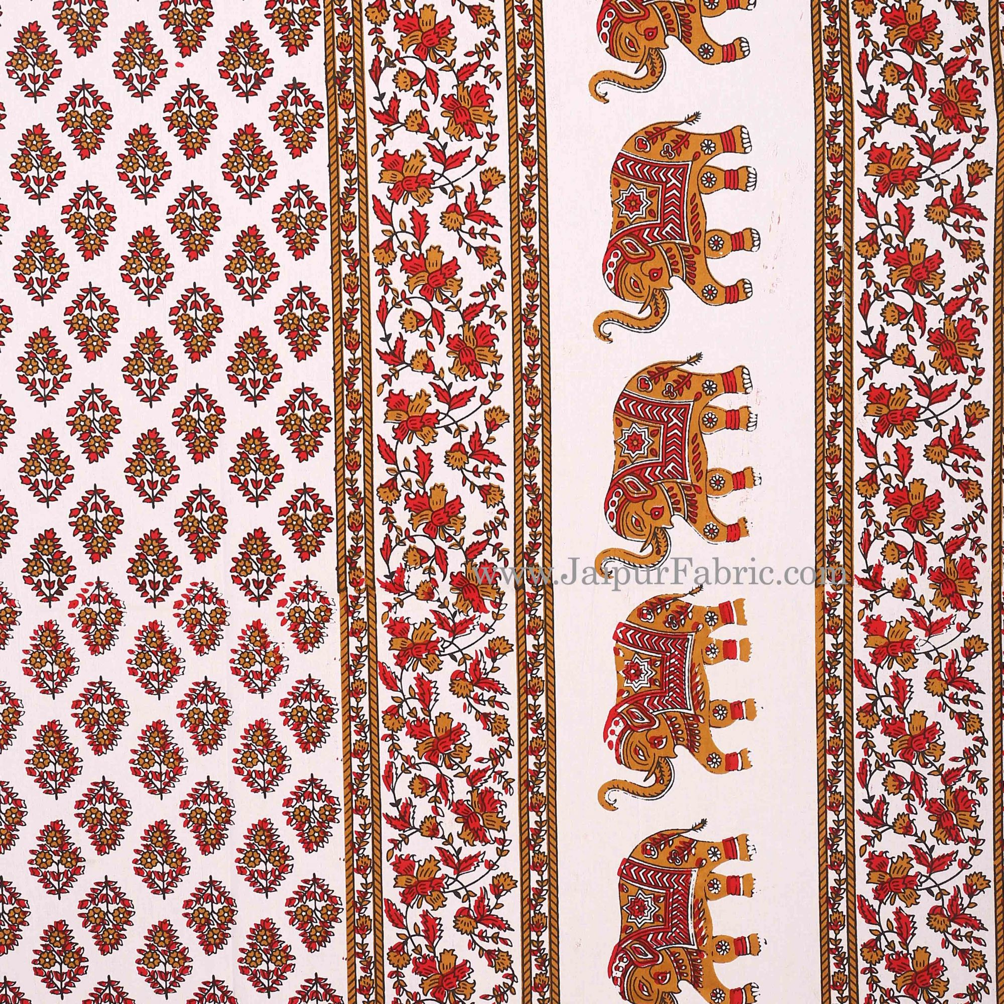 Red Border With  Paisley  Cream Base Elephant Print Cotton Double Bed Sheet