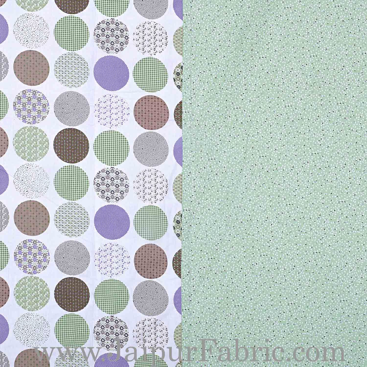 Cambric Cotton Double bed Reversible Dohar with glorious green Polka Dots