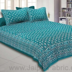 Double Bedsheet Sea Green Dabu Print