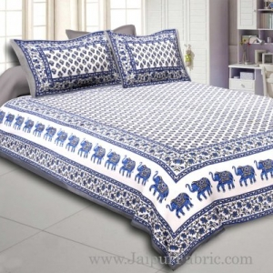 Gray Border White Base Bell And Elephant Border Small Booti  Print Cotton Double  Bed Sheet