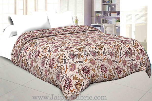 Muslin Cotton Double bed Reversible mulmul Dohar in seamless plum floral print