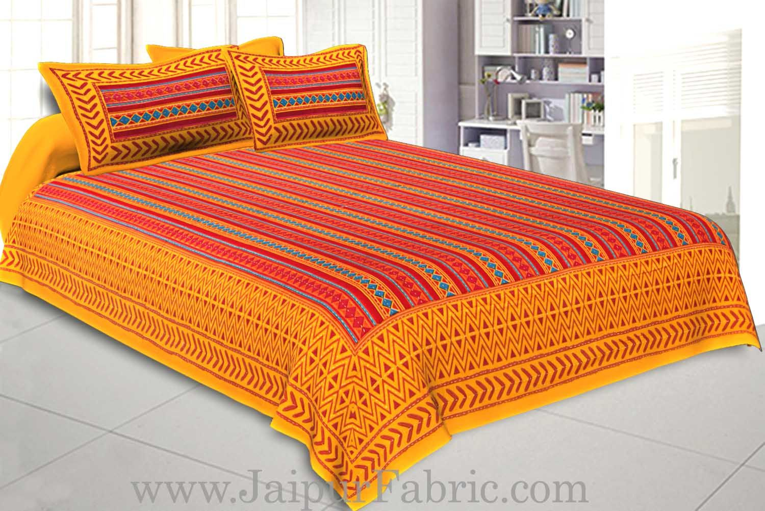 Double bedsheet Katha Work Yellow Border Zig-Zag Print With Two Pillow Cover