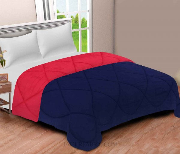 Navy Blue-Red  Double Bed Comforter