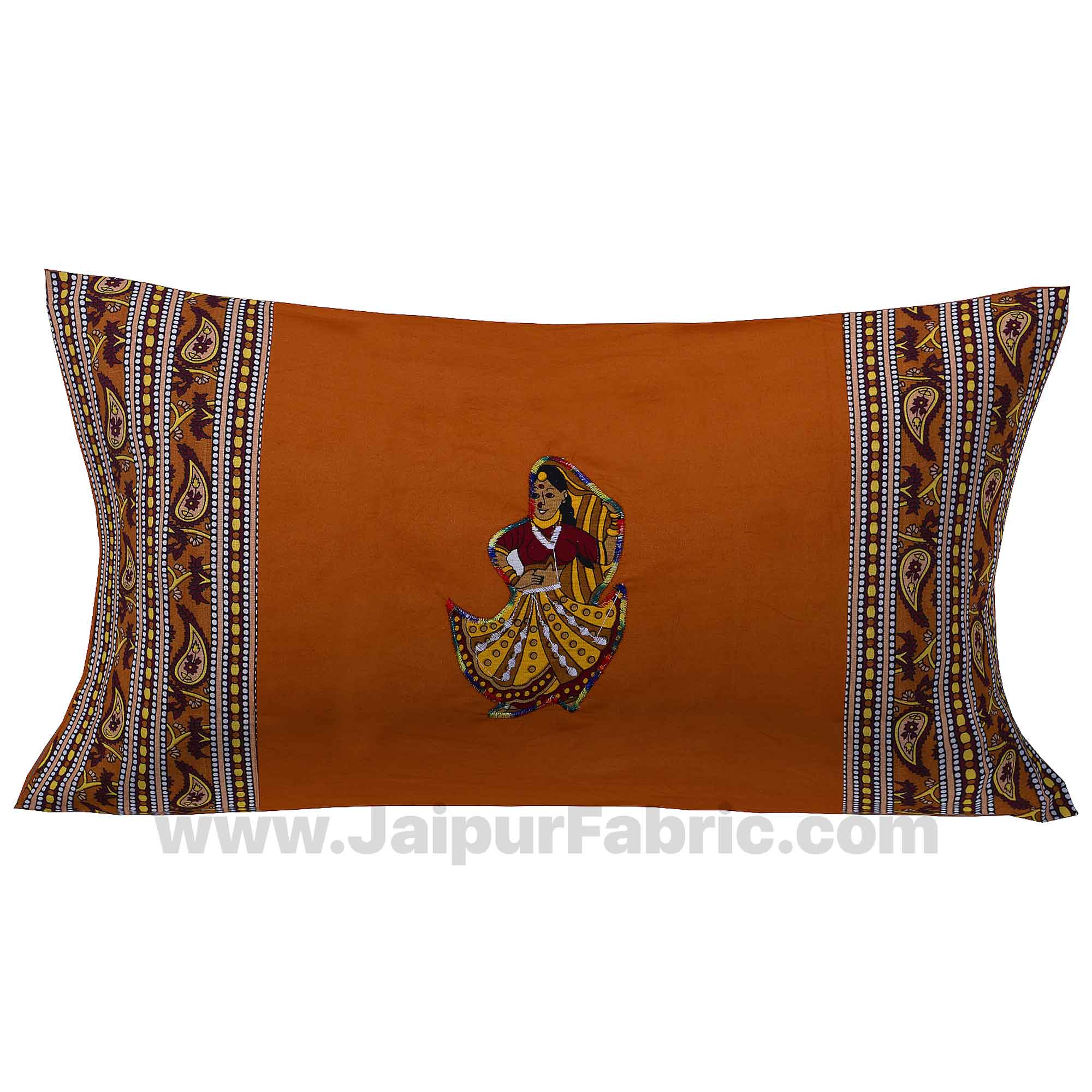 Applique Mustard Rajasthani Dance Jaipuri  Hand Made Embroidery Patch Work Single Bedsheet