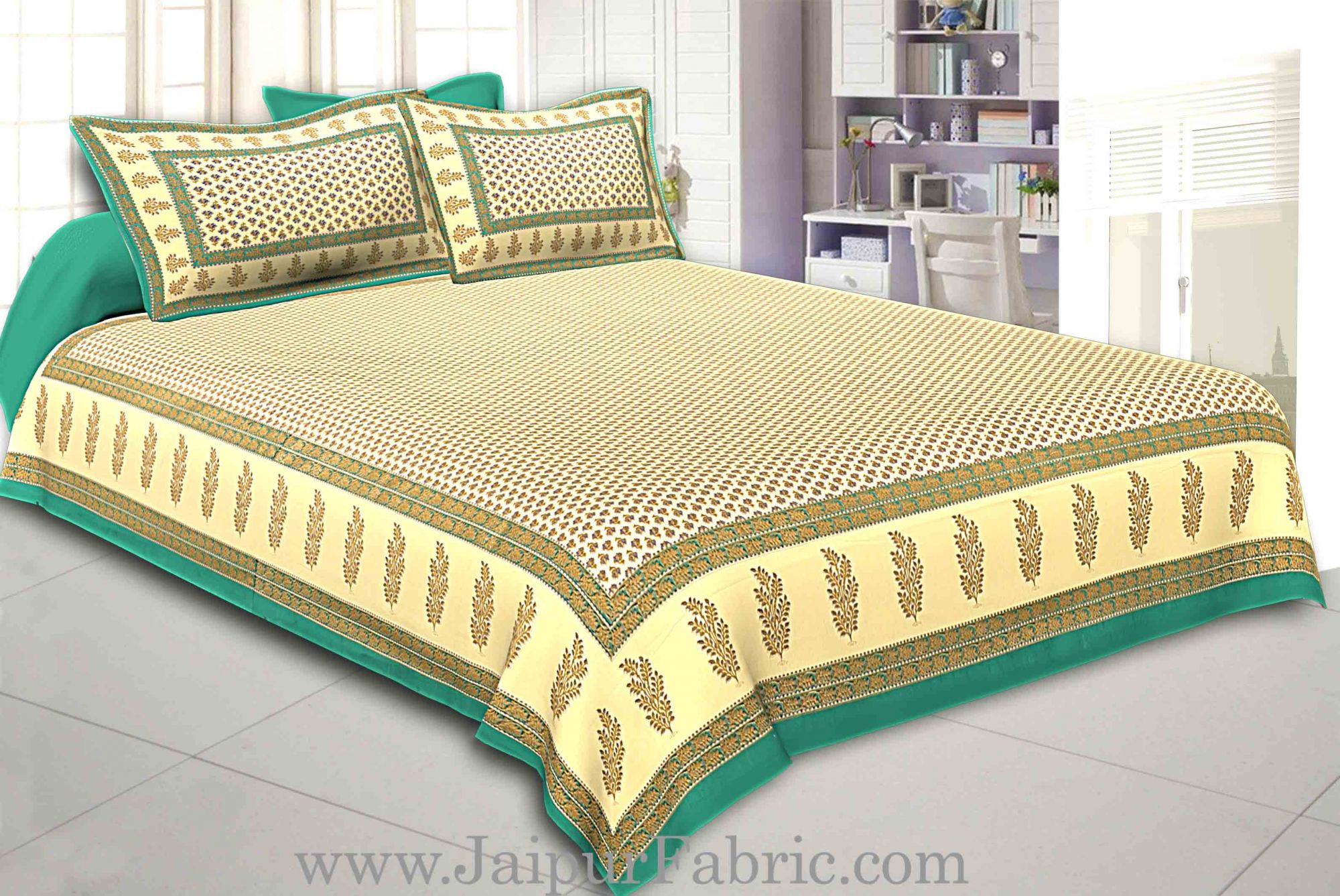 Green Border Cream Base With booti Pattern With Golden Print Super Fine Cotton Double Bed Sheet
