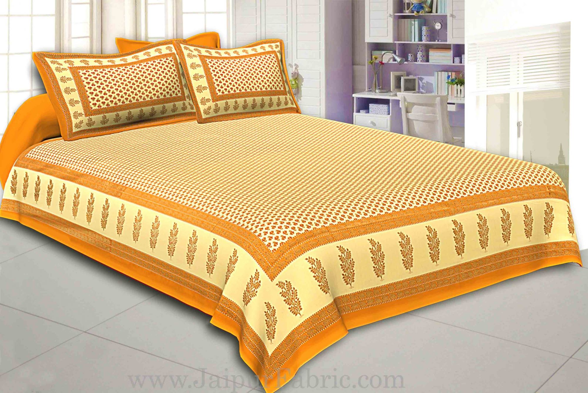 Orange Border Cream Base With booti Pattern With Golden Print Super Fine Cotton Double Bed Sheet