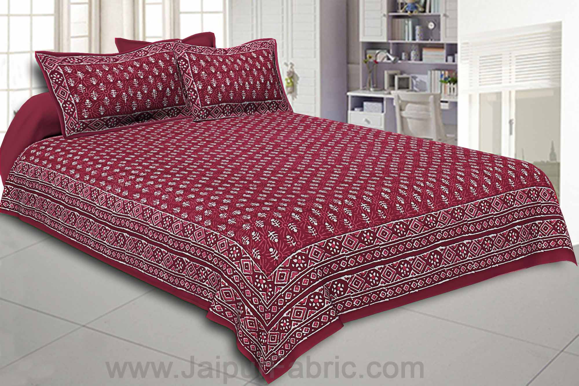 Double Bedsheet Red Dabu Print