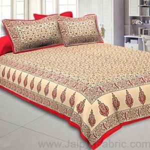 Ethnic Gold Red Floral Double Bedsheet