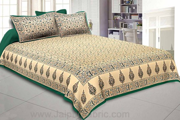 Ethnic Gold Green Floral Double Bedsheet