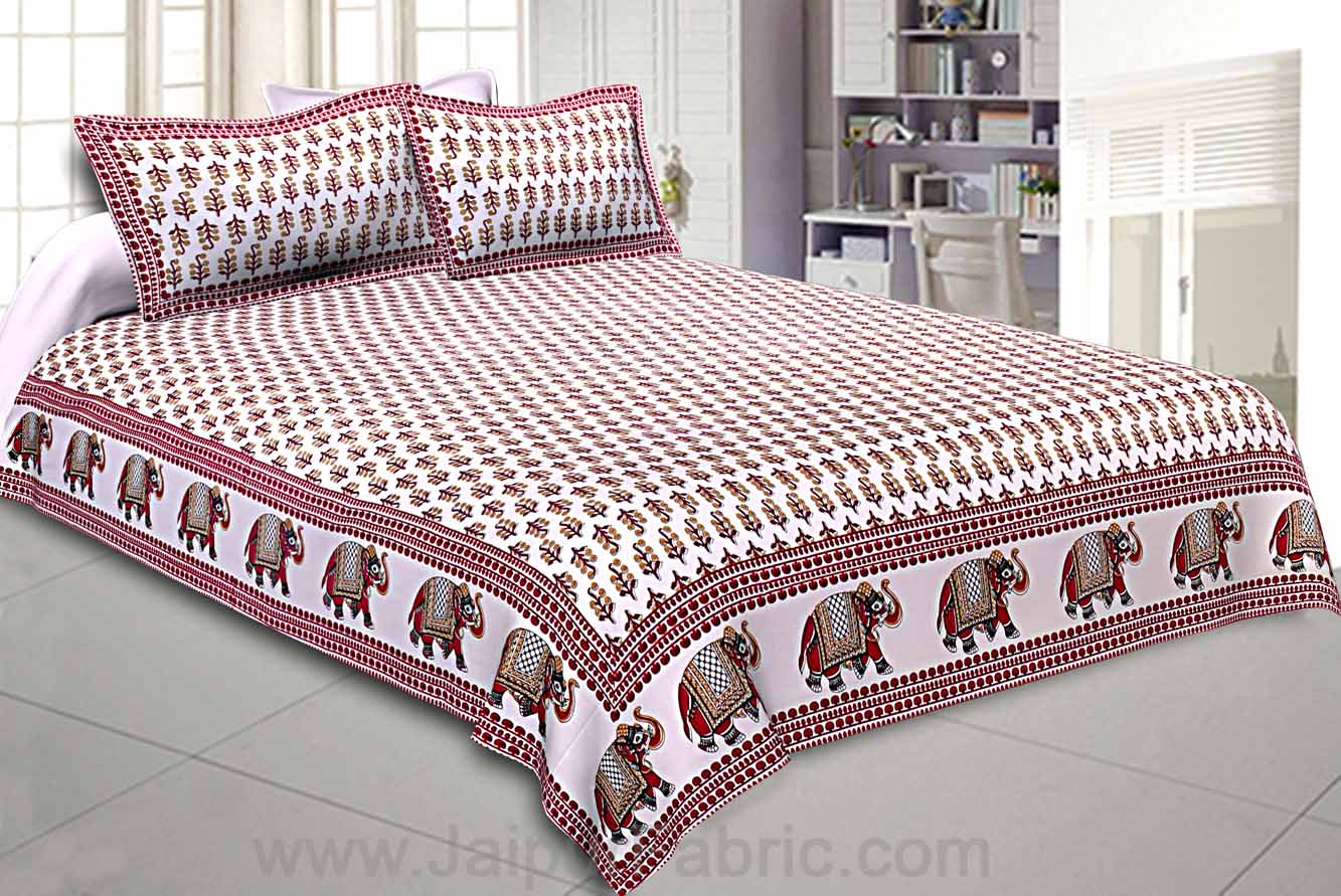 Vivid Red Motif Double Bedsheet