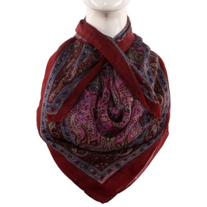 Silk Scarf Red Border Paisley Print