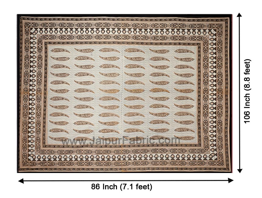 Ethnic Petals Print Sandy Brown Bedsheet