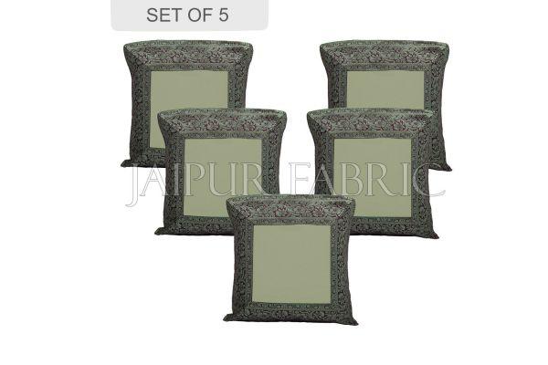 Green Base with Black Gota Work Border Cotton Satin Silk Cushion Cover