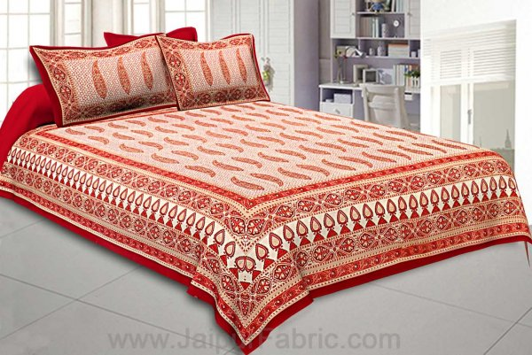 Ethnic Petals Print Bright Red Bedsheet