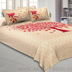 Beige Double Bedsheet With Hot Pink Spring Tree