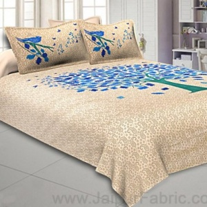 Beige Double Bedsheet With Blue Green Spring Tree