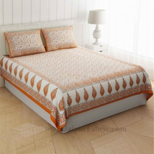 Orange Golden Flowery Motif Print Double Bedsheet