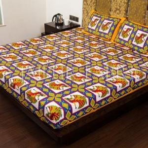 Yellow Jaipuri Ghoomar Dance Print Cotton Double Bed Sheet