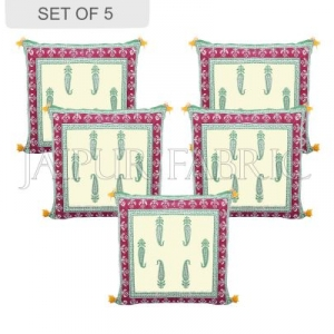 Off White Color Base Maroon Border Keri Design Cotton Cushion Cover