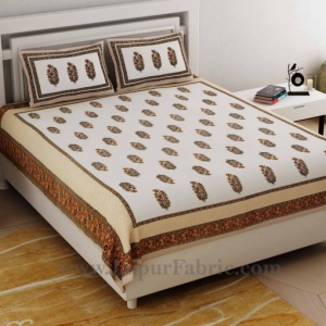 Ethnic Block Print Brown Double Bedsheet