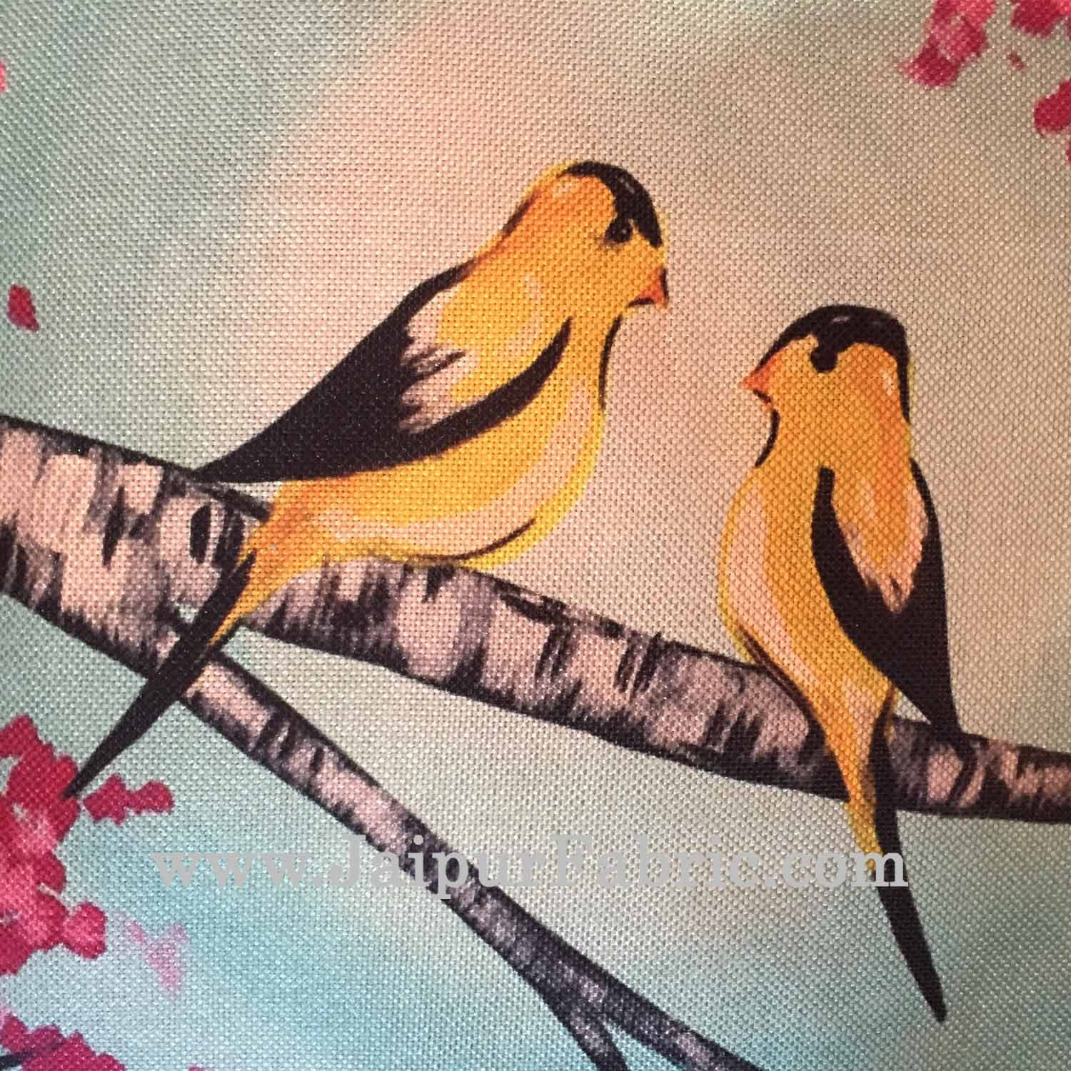 Jute Cushion Cover Digital Love Birds