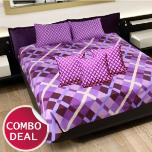 COMBO19 - Set Of Double Bed Sheet and 3 Cushion Covers