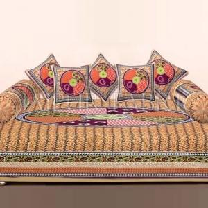 New Mustered Jaipuri Tropical Print Cotton Diwan Set