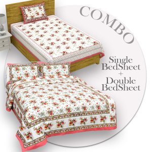 COMBO369 Beautiful Pink Colour Combo Set of 1 Single and 1 Double Bedsheet With 3 Pillow Cover