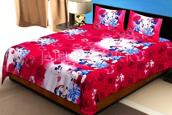 Red Base Mickey Mouse Cotton Single Bed Sheet