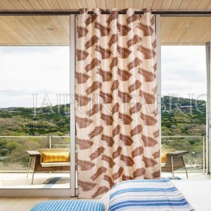 Natural Base Brown Color Printed Polyester Curtain