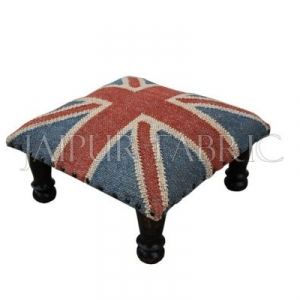 Wooden Square Foot Stool Upholstered with Wool and Jute Kilim Woven