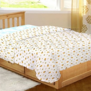 White Base Yellow Floral Print Single Bed Dohar