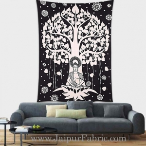 Black and White Tapestry Buddha design wall hanging for meditation