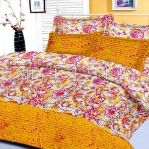 Yellow Floral Base Abstract Print Border King Size Cotton Bed Sheet