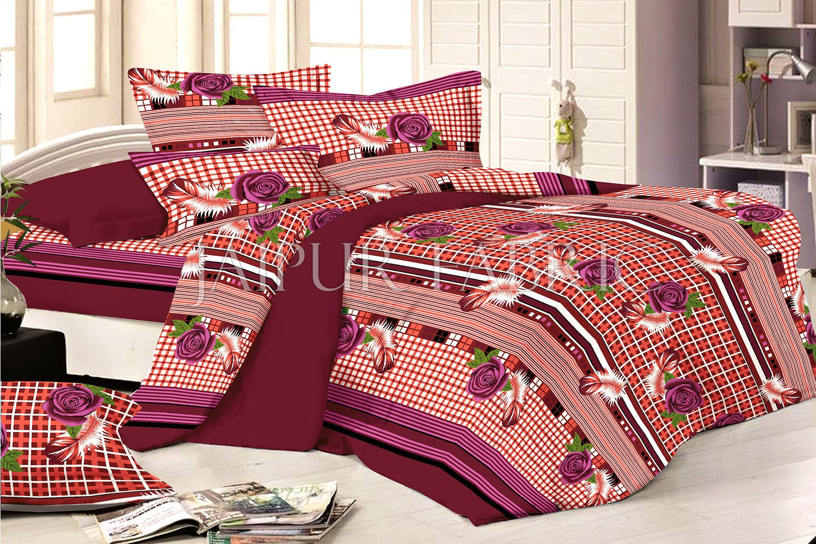 Maroon Base Flower and Feather Print Double Bed Sheet