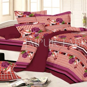 Maroon Base Flower and Feather Print Single Bed Sheet