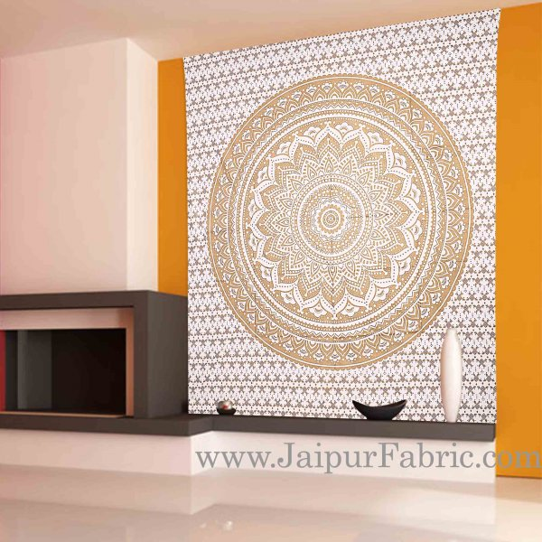 Gold Tapestry Ombre Mandala Wall Hanging Metallic Shine Bohemian Bedspread  And Beach Throw 95x85