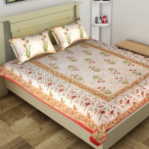 Red Border Lotus Floral Printed Cotton Single Bed Sheet