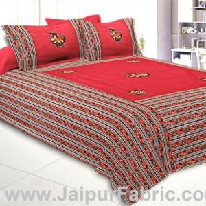 Double Bedsheet Rani color Gujri dance applique Design