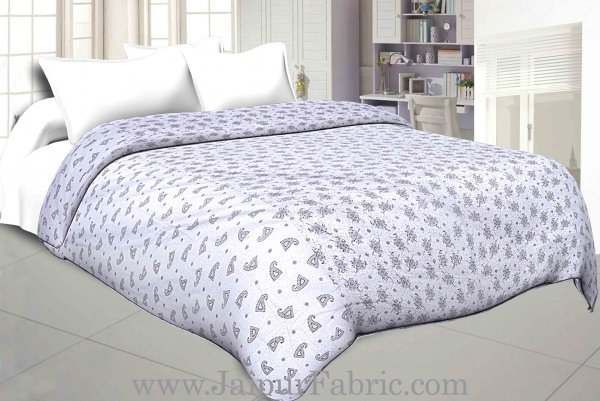 Cambric Cotton Double bed Reversible Dohar with pastel hand block print