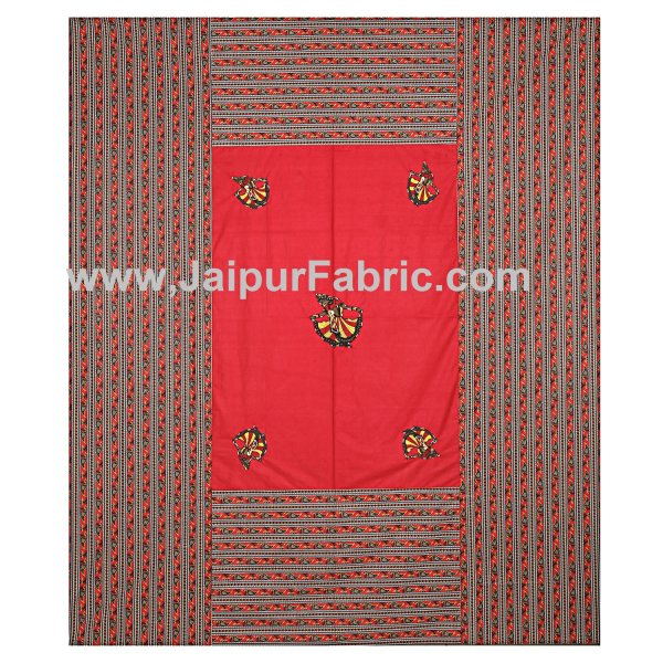 Double Bedsheet Rani color Gujri dance applique Design