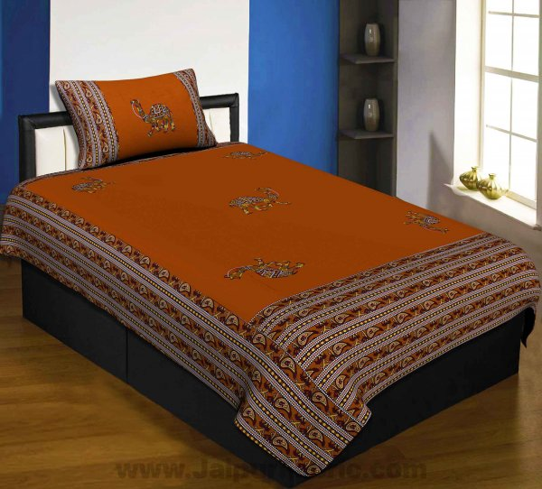 Applique Mustard Camel Jaipuri  Hand Made Embroidery Patch Work Single Bedsheet