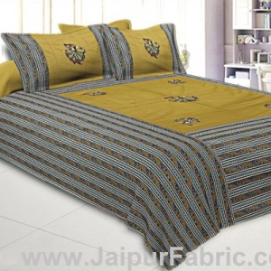 Double Bedsheet Mustard Color Patchwork applique design