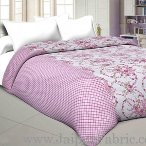 Cambric Cotton Double bed Reversible Dohar with seamless pink floral liana pattern