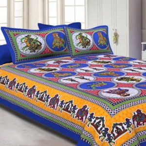Blue base Jaipur doli design  with elephant Print Double Bed Sheet and Pillow Covers