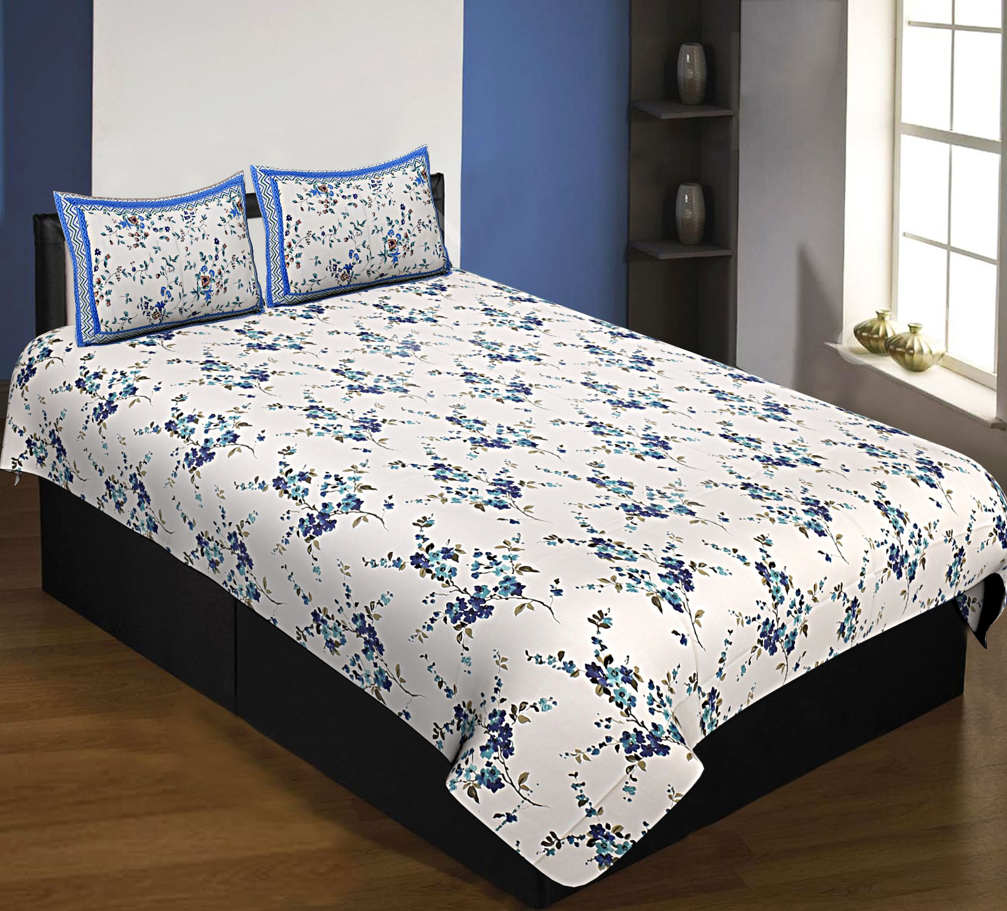 Pure Cotton 240 TC Single Bedsheet in blue motif floral print taxable