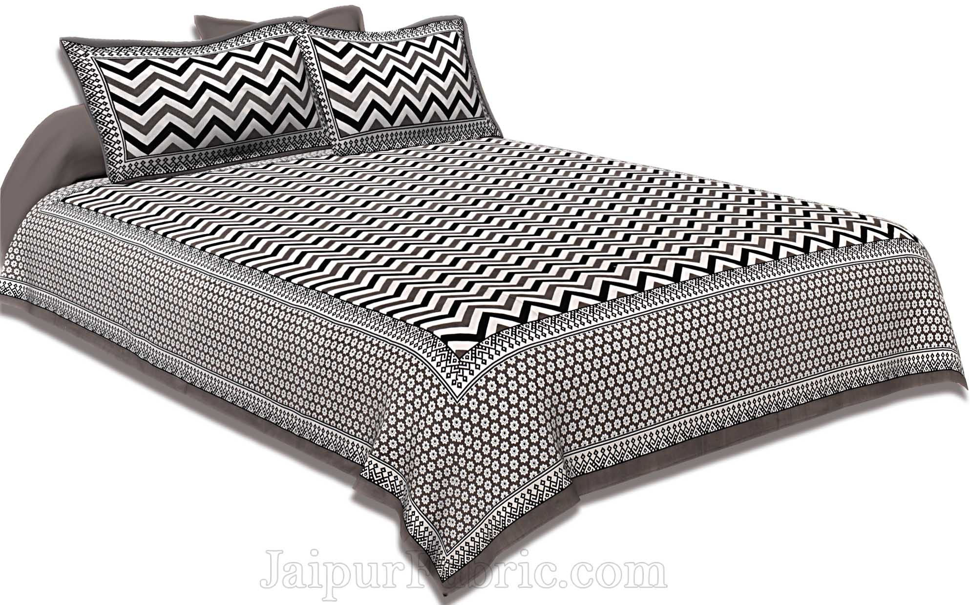 Double Bedsheet Grey  Border  Fine Cotton  Zig -Zag Print