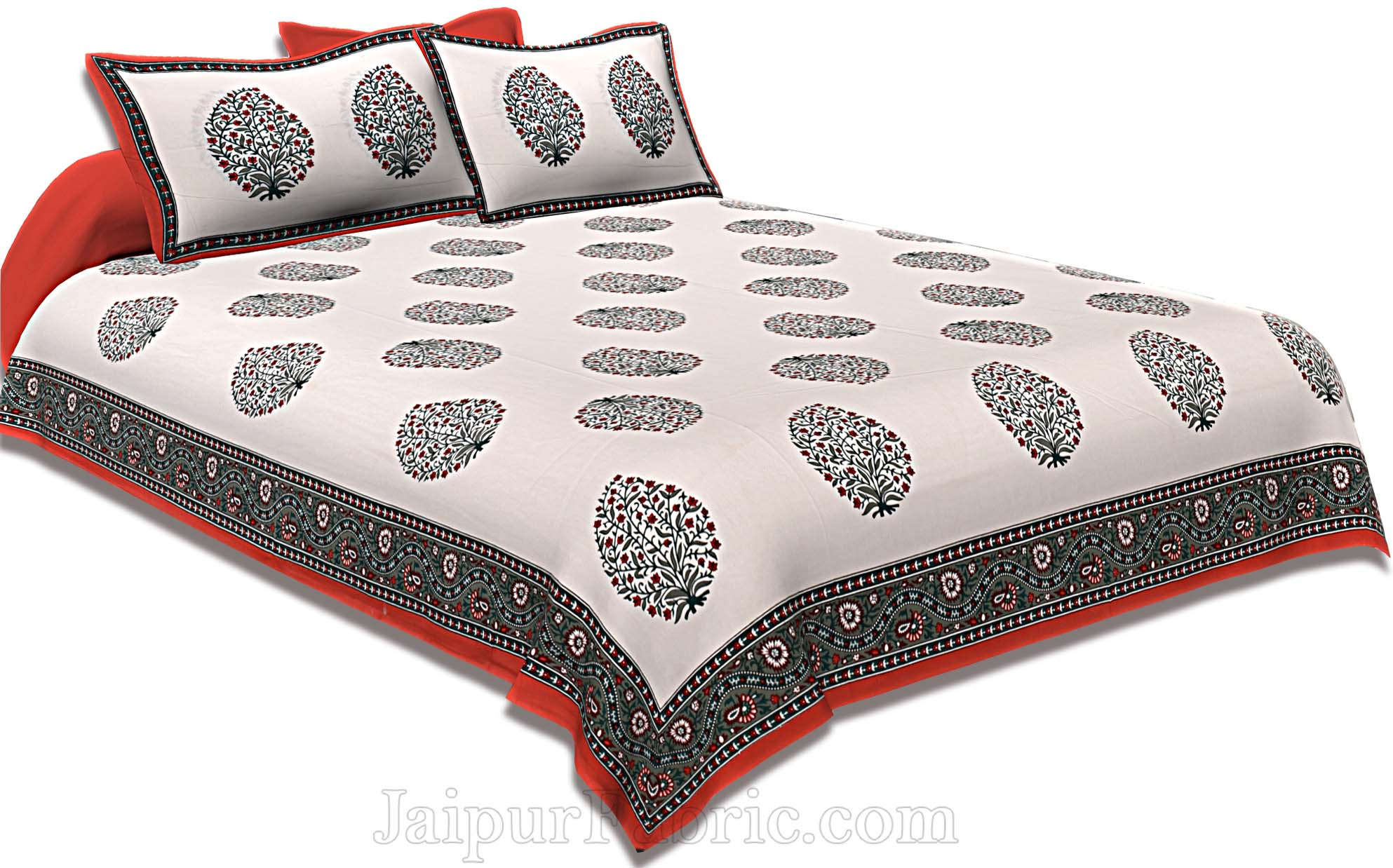 Double Bedsheet Orange  Border  Fine Cotton Big Boota  Print
