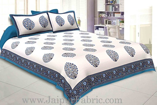 Double Bedsheet Firozi  Border  Fine Cotton Big Boota  Print