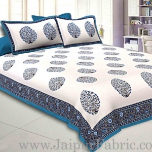 Double Bedsheet Firozi  Border  Fine Cotton Big Boota  Print